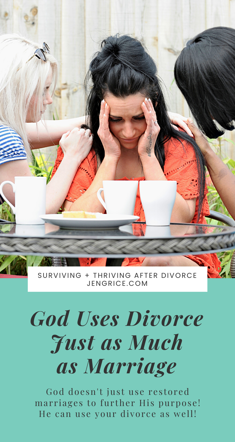 What if God uses divorce just as much, maybe even more than He uses marriage to further His kingdom? Nothing is wasted. He uses everything for good. Even divorce! via @msjengrice