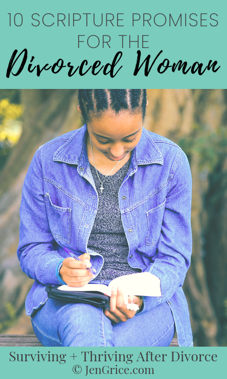 Looking for encouragement? Here are 10 Scripture promises for the divorced woman PLUS a free printable sheet to keep you encouraged during and after divorce. via @msjengrice