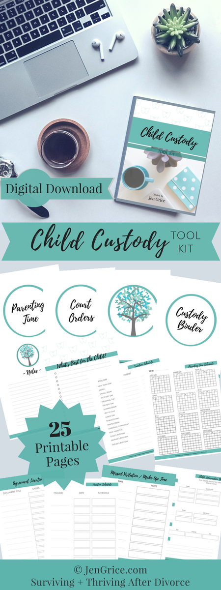 Child Custody Digital Tool Kit | Divorce Binder | By Jen Grice via @msjengrice