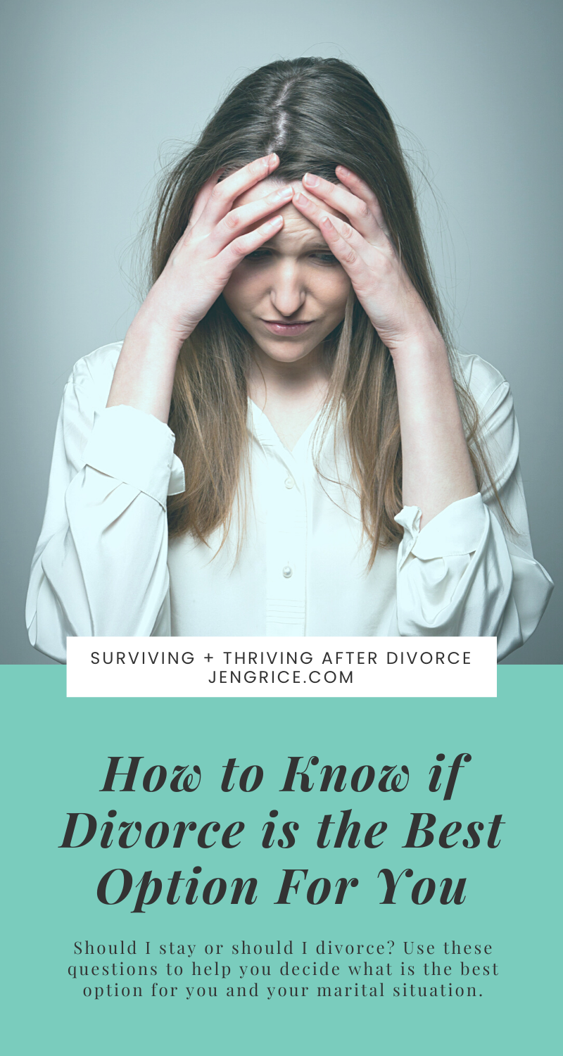 Knowing if divorce is the best option for you is a hard decision. For most it is unwanted, but abuse, adultery, addiction, and abandonment make divorce necessary to live a thriving life. Learn the questions you should be asking yourself about your marital situation before you decide.  via @msjengrice