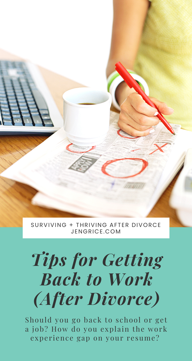 Divorce can be stressful enough without having to figure out how you're going to learn an income after taking care of your family for so long. That's why I'm sharing these tips to help you get back to work (or school if needed) after divorce. via @msjengrice