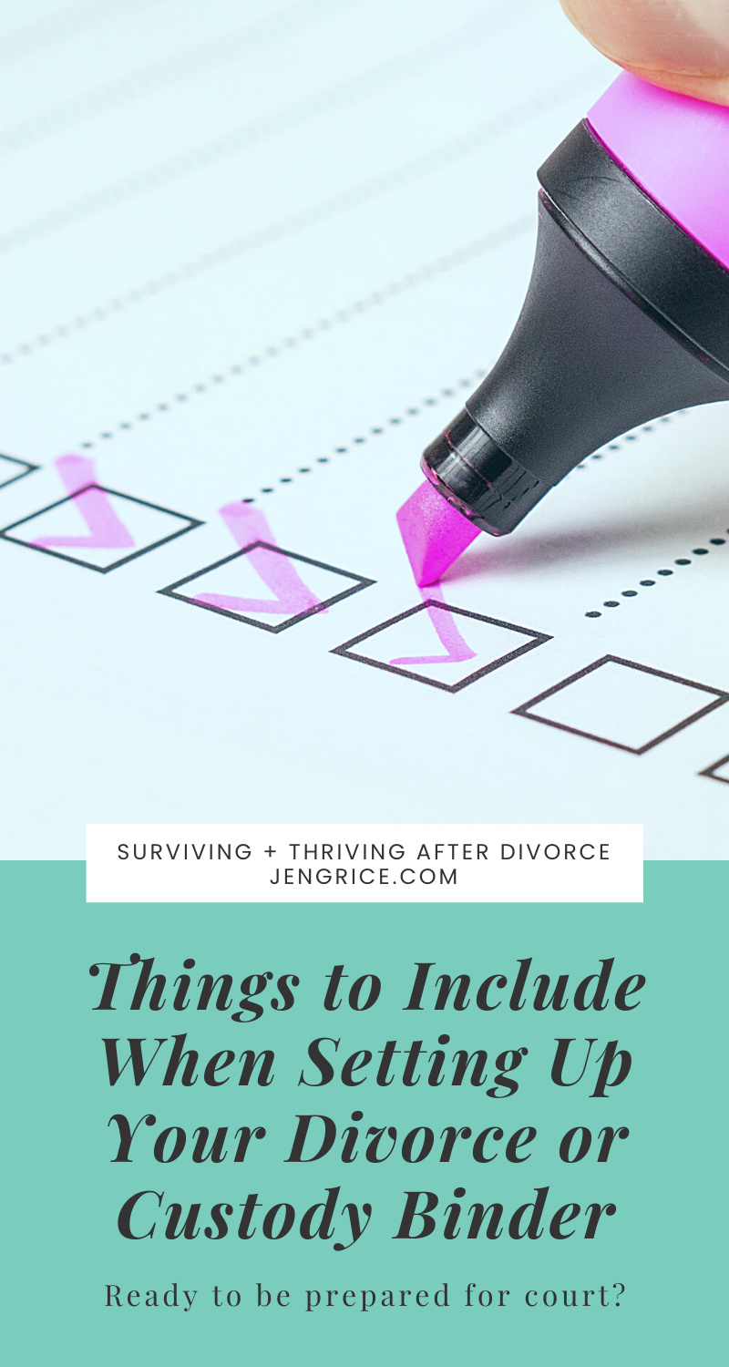 Setting up a divorce and custody binder after my divorce helped me to attend that court hearing with confidence, knowing I had all the evidence needed to prove my case. Here's the list of what I include in my binder so you too can create one today! via @msjengrice