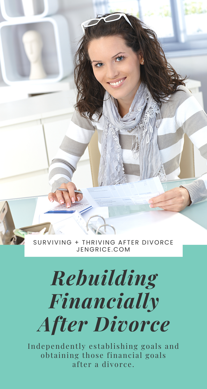 New year, new chapter after a divorce is the perfect time to look at your financial goals to become independent or free from debt. If you're needing help in rebuilding financially or just wanting to financially survive after divorce, Jen Grice can help! We can get through this together! via @msjengrice
