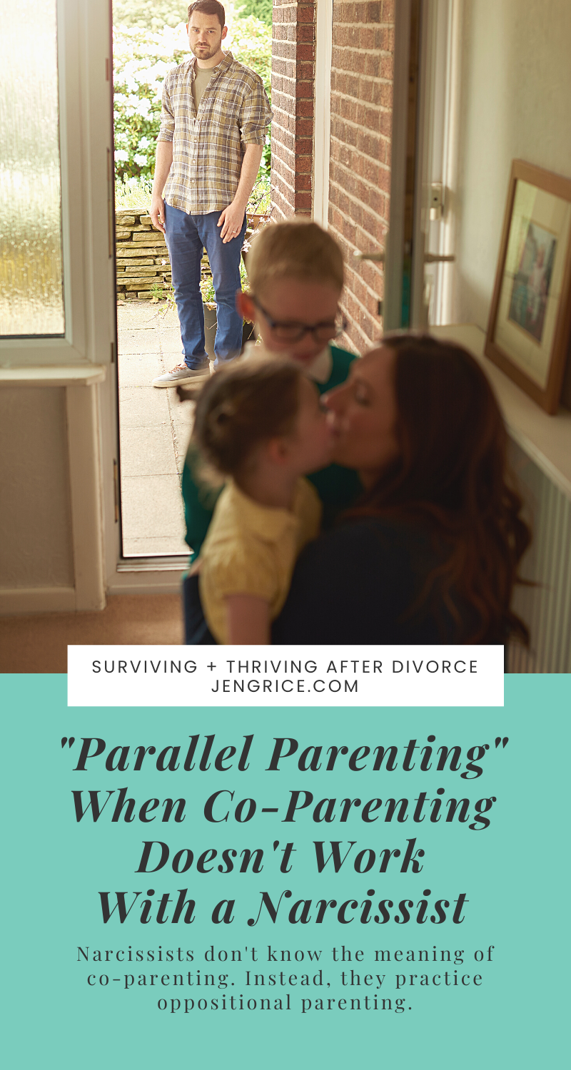 Many women ask how do I co-parent with my ex who's a narcissist and doesn't know the meaning of co-parenting. It just doesn't work! Now what? Now, you let go and use these parallel parenting techniques to get you through those growing-up years. This doesn't last forever! You just have to get through this time when your kids are children. We hope that they eventually grow up to see the entire truth about the situation. via @msjengrice